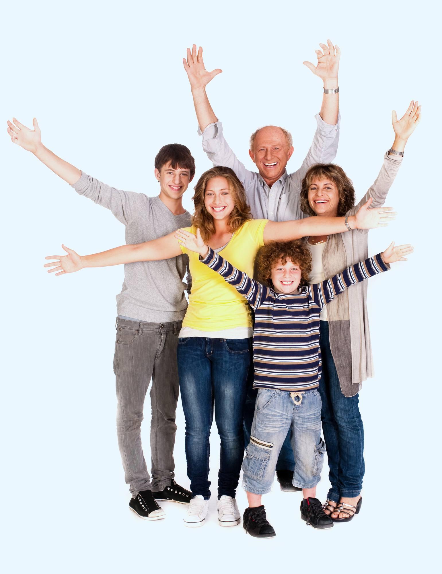 Happy parents and children.