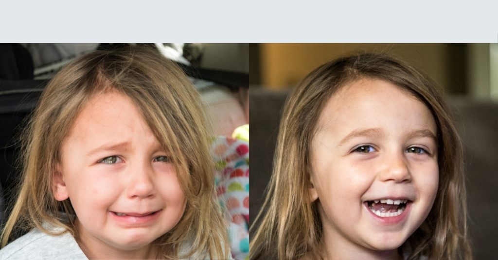Before and after image of a girl whining and then happy.